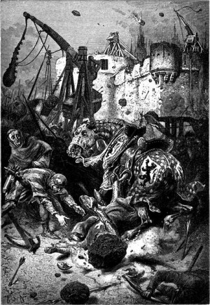 The Death of Simon de Montfort at the siege of Toulouse - drawn by Alphonse de Neuville and created in 1883