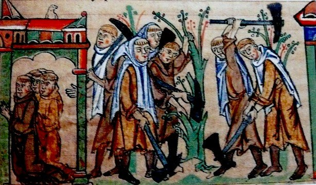 Cistercian monks at prayer at at work - University Library Cambridge Ms. mm 5.31. fol. 113