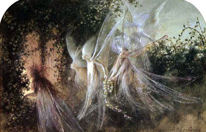Fairies Looking Through A Gothic Arch by John Anster Fitzgerald 19th century