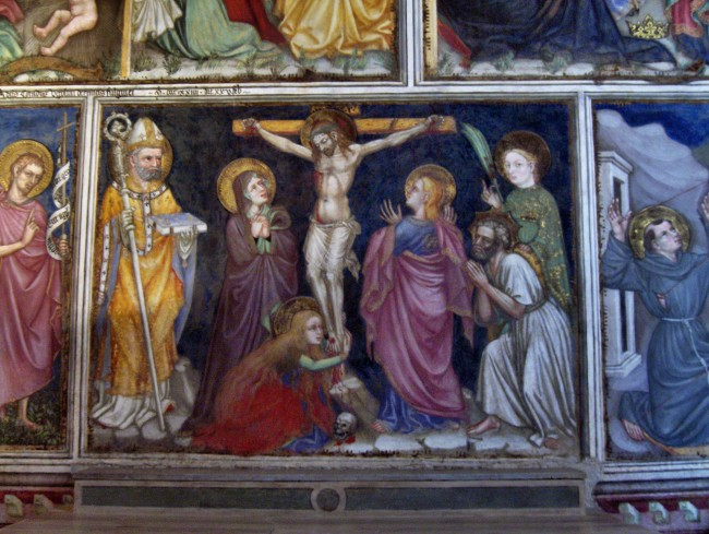 """Crucifixion"" (showing also also the archbishop Jacobus de Voragine with his book the Golden Legend in his hands.) by Ottaviano Nelli, Chapel of the Trinci Palace, Foligno, Italy."