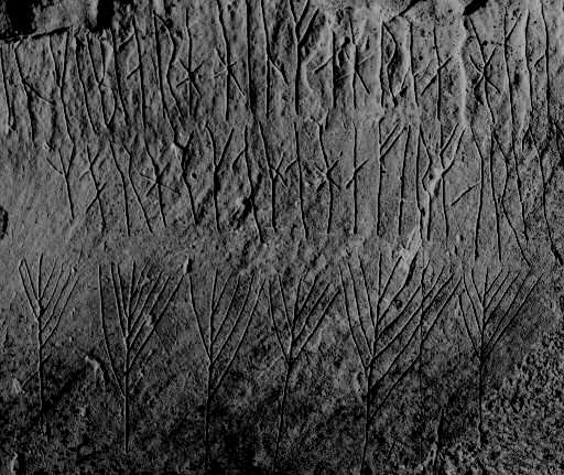 Runes from the Maeshowe Chambered Cairn, Orkney - photo by islandhopper / wikipedia