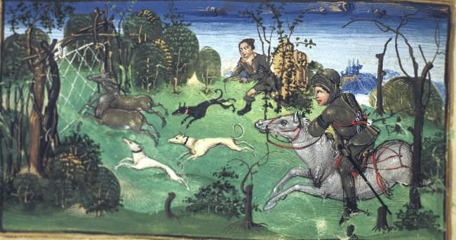 medieval deer hunting scene - British Library Egerton 1146   f. 5v