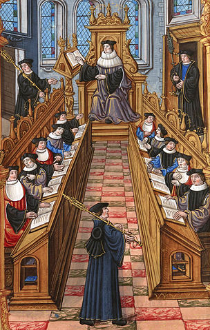 """A meeting of doctors at the university of Paris. From the """"Chants royaux"""" manuscript, Bibliothèque Nationale, Paris"""