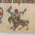 The monkey falconer was a popular motif in illuminated medieval manuscript marginalia and apes and birds share a 'sympathetic' connection,