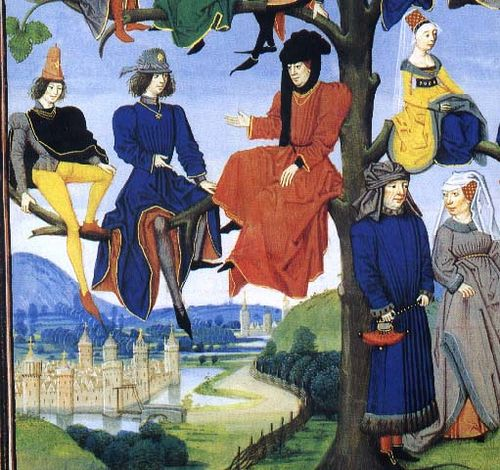 Youth sitting in a tree wearing late 15th century fashions.