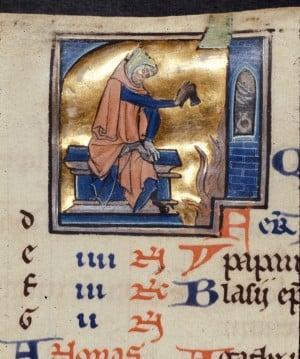 British Library MS-Royal 2 B II fol 1v detail