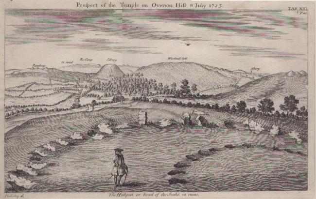 William Stukeley's drawing of the Sanctuary and related topography in 1725 ,in  Abury, a Temple of the British Druids   (London, 1725 )