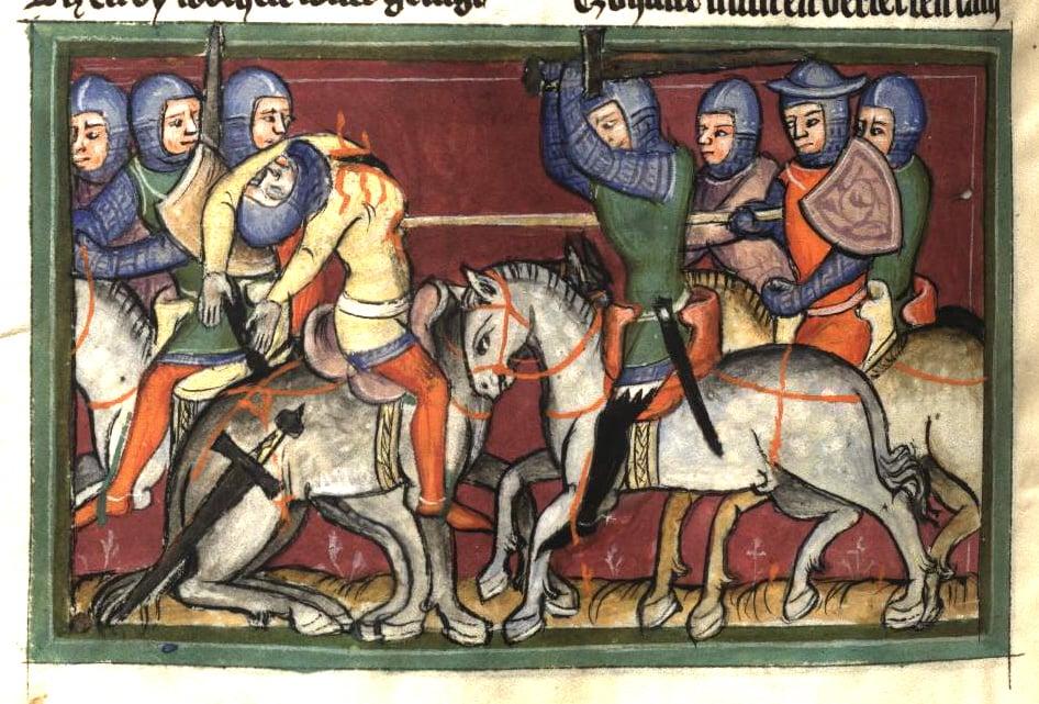 death or flee - medieval - Rudolf von Ems Weltchronik (14th century)