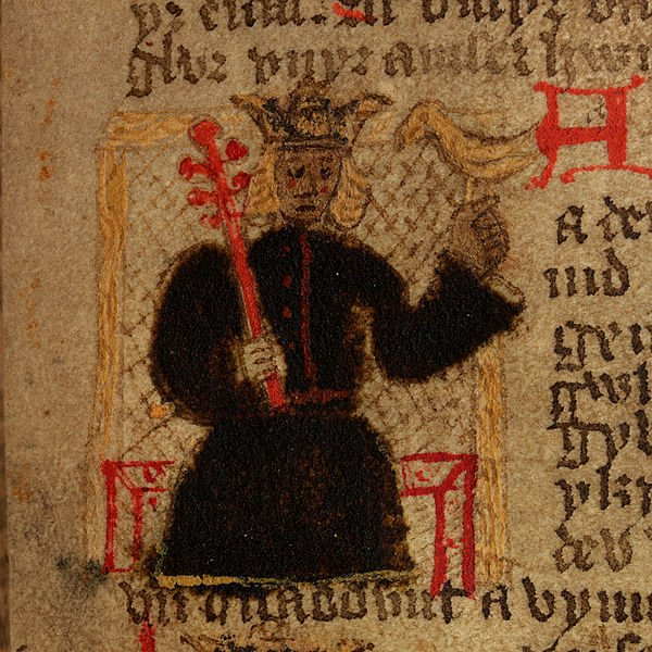 Madog. A crude illustration from a 15th century Welsh language version of Geoffrey of Monmouth's highly influential Historia Regum Britanniae ('History of the Kings of Britain')