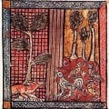 Chanticleer and the Fox in a mediaeval manuscript miniature