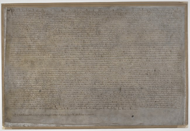 Magna Carta, London copy, 1215, on display in Magna Carta: Law, Liberty, Legacy. Photography © British Library. Cotton Augustus II. 106