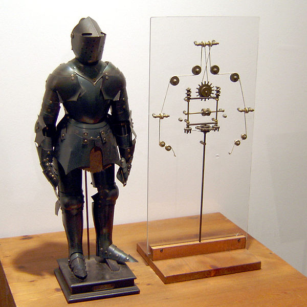 Model of Leonardo's robot with inner workings, as displayed in Berlin. Photo by Erik Möller