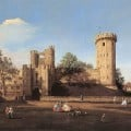 Warwick Castle from the outer court, painted by Canaletto in 1752