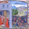 Anointing of Pope Gregory XI. Battle of Pontvallin (1370). Bibliotheque Nationale MS Fr. 2643