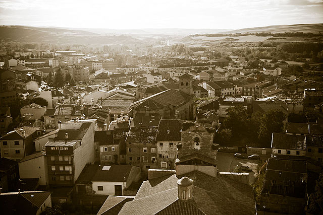View of Belorado in sepia from its castle - photo by  FranzPisa / Wikimedia Commons