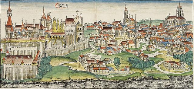 Buda during the Middle Ages, woodcut from the Nuremberg Chronicle (1493)