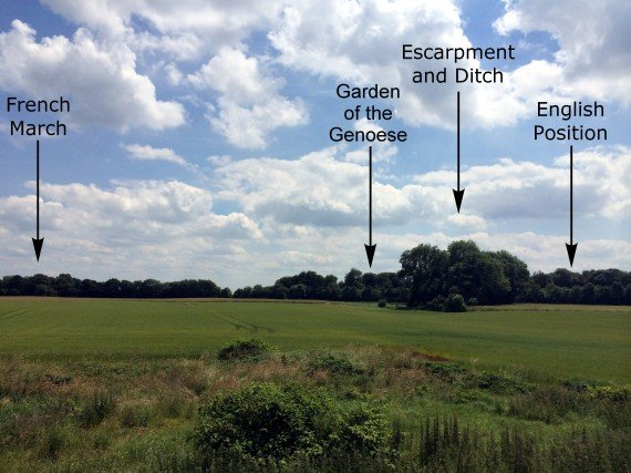 The proposed site of Battle of Crécy, looking southwest across the battlefield. Photo by Michael Livingston