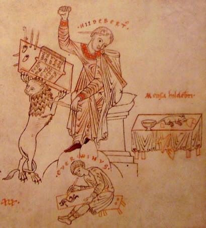 Hildebert cursing a mouse. An image from the  12th century manuscript De Civitate Dei
