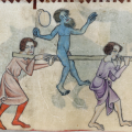 Luttrell Psalter - Two men are carrying on their shoulders a pole, on which is seated a bearded, naked man, coloured blue and carrying a bladder-balloon on a stick, a sign of the jester or fool. (British Library)