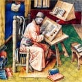 medieval writing - Jean Miélot at his desk 15th century