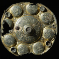 Mounting from a reliquary, produced in Northumbria in the 8th century. The mounting have been modified and was used as a brooch. It was found in a woman's grave from the second part of the 9th century, in Buskerud, Norway - Photo courtesy University of Oslo Museum of Cultural History