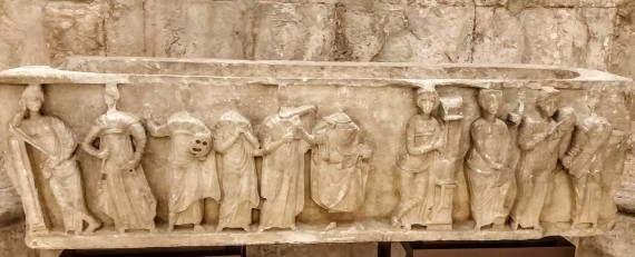 Valado dos Alfeizeirão (Alcobaça). This beautiful muse sarcophagus from the Carmo Monastery museum is from the 3rd or 4th c. and depicts theatre and music. Photo by Medievalists.net