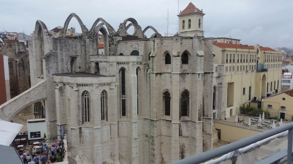View of Carmo Monastery from the top of the Santa Just a Lift. Photo by Medievalists.net