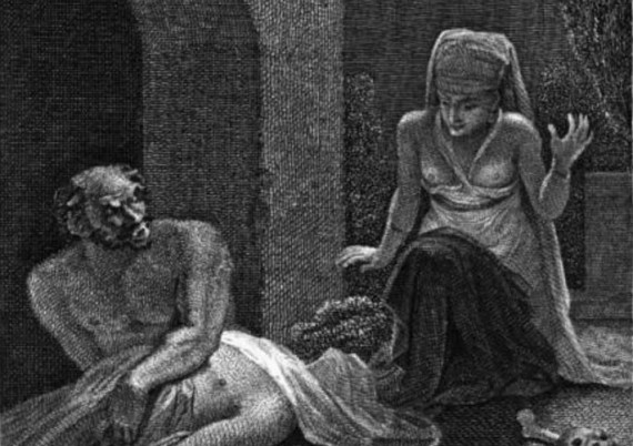 """""""Amine Discovered with the Goule"""", from the story of Sidi Nouman, of the One Thousand and One Nights."""