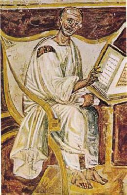 The earliest portrait of Saint Augustine in a 6th century fresco, Lateran, Rome.