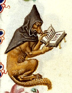 Fox reading in a Book of Hours by the Master of Catherine of Cleves