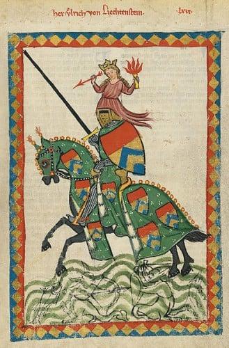 Ulrich von Liechtenstein depicted in the Codex Manesse, UB Heidelberg, Cod. Pal. germ. 848, fol. 237r