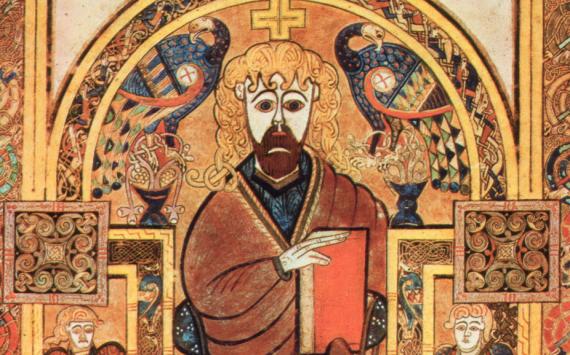 Book of Kells, Folio 32v, Christ Enthroned.