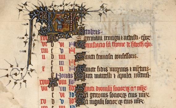 Month of October in a medieval calendar - British Library Egerton 3277   f. 5v