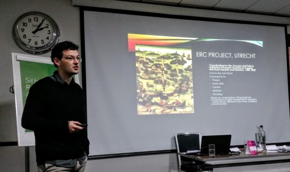 """Dr. Daniel Curtis presenting his talk at, """"Making the Medieval Relevant"""" at the University of Nottingham."""