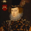 Portrait of Elizabeth Knollys, Lady Leighton (b. 15 June 1549, maid of honor early in the reign of Queen Elizabeth