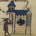 Rabbit tolling church bells from the medieval devotional Book of Hours