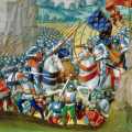 The Battle of Agincourt from Enguerrand de Monstrelet, Chronique de France. French. Manuscript op parchment, 266 ff., 405 x 300 mm. Brugge(?), c.1495