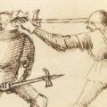 Pollaxe combat depicted in the Fiore Furlan dei Liberi da Premariacco, circa 1410