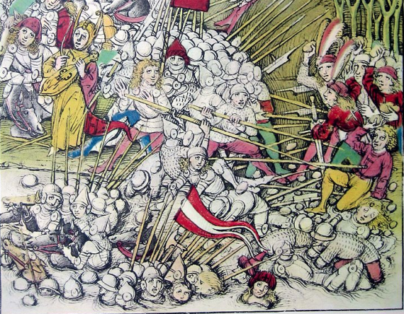 Illustration of the battle of Morgarten in the Chronicle of Diebold Schilling