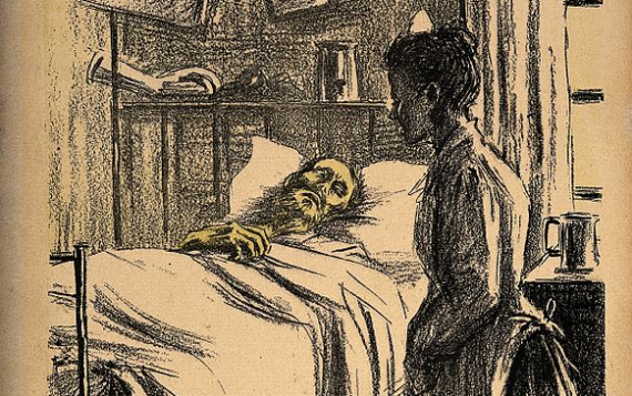 Nurse and patient - from a lithograph by Noël Dorville, c. 1901.