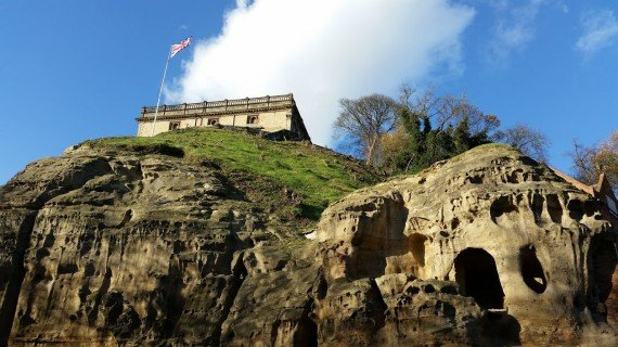 Nottingham Castle sitting atop its rock, a vast network of caves. Photo by Medievalists.net