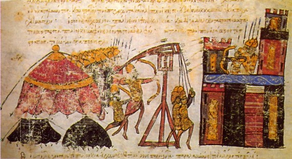 Image from an illuminated manuscript depicting a Byzantine siege of a citadel