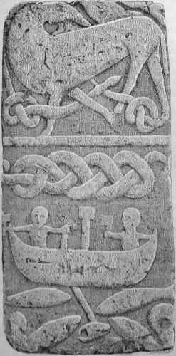Thor fishing, part of Gosforth Cross. Reproduction by Julius Magnus Petersen, photographed from Finnur Jónsson. Public domain.