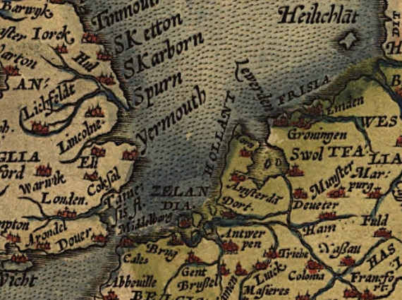 North Sea region in a 16th century map of Europe by Abraham Ortelius