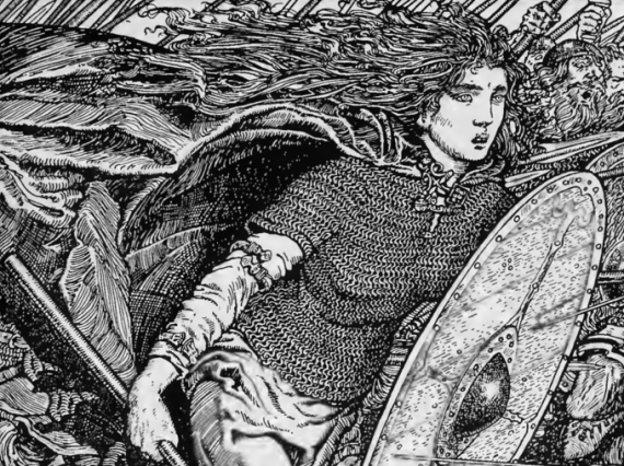 The Viking shieldmaiden Lagertha, depicted in The Northmen in Britain (1913) by Eleanor Means Hull
