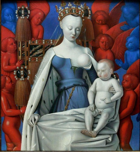 Madonna Surrounded by Seraphim and Cherubim, by Jean Fouquet, featuring Agnès Sorel as the model