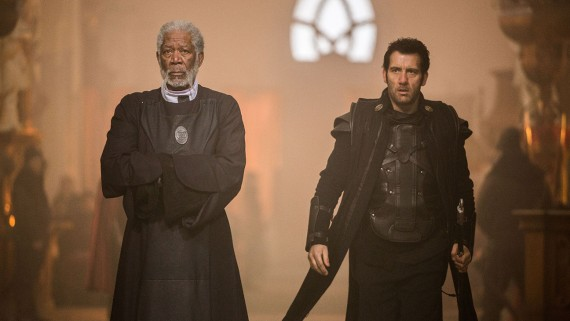 "Morgan Freeman as Lord Bartok, and Clive Owen as his loyal retainer and knight, Commander Raiden in, ""Last Knights""."