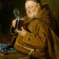 A drunk monk? This might be St. Arnulf of Metz (582 -640), the unofficial patron saint of beer.