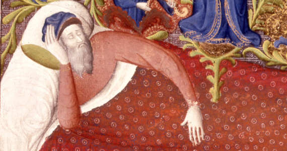 A sleeping man in a medieval manuscript - from British Library Royal 19 D III   f. 458