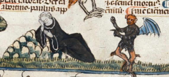 Devil tempting a sleeping monk - from British Library Royal 10 E IV   f. 221